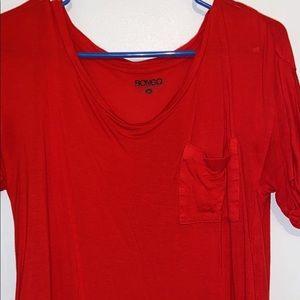 cute red flowy shirt